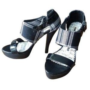 Harajuku Lovers Black & White Plaid Arbon Heels
